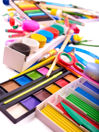 teaching crayons: Sfondo di forniture scolastiche di gruppo.
