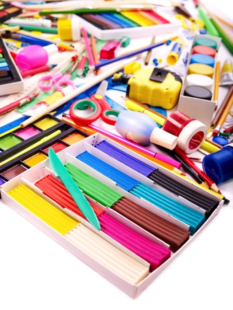 large group of items: Background of group art school supplies.