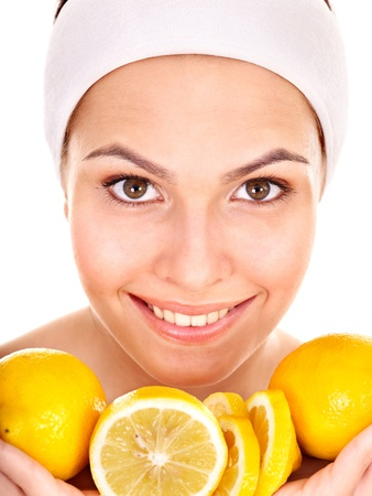 aging skin: Natural homemade fruit  facial masks . Isolated. Stock Photo