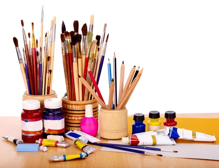 Office items: Primer plano de art�culos de arte del grupo. Foto de archivo