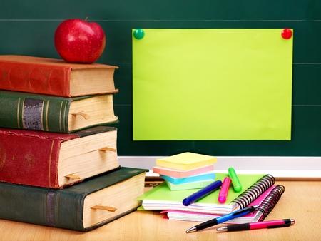 teaching crayons: School supplies. Writing utensils. Stock Photo