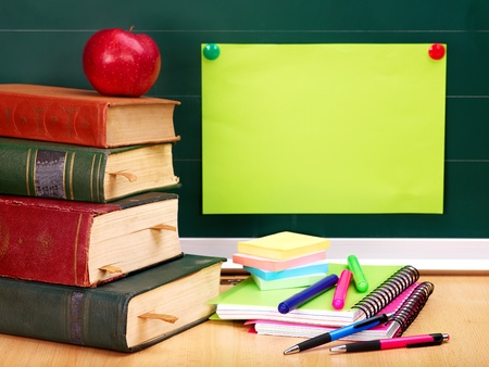 green back: School supplies. Writing utensils. Stock Photo
