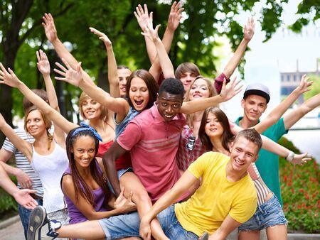 multi ethnic:  Multi-ethnic group of people outdoors.