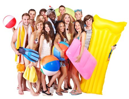 Group people holding beach accessories. Isolated. photo