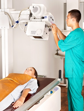 radiotherapy: Patient with doctor radiologist. Medicine. Stock Photo