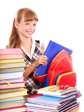 backpack school: School child holding stack of books.  Isolated.