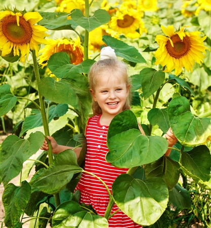 Child holding sunflower outdoor. photo