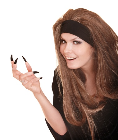 witch in black costume and long hair with claw finger.Isolated. Stock Photo - 10533468