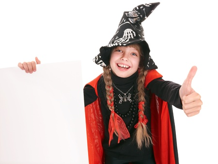 Child girl witch in black costume  with thumb. Isolated. Stock Photo - 10532943