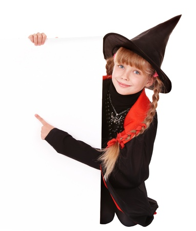 happy halloween: Child  witch holding banner pointing. Isolated.