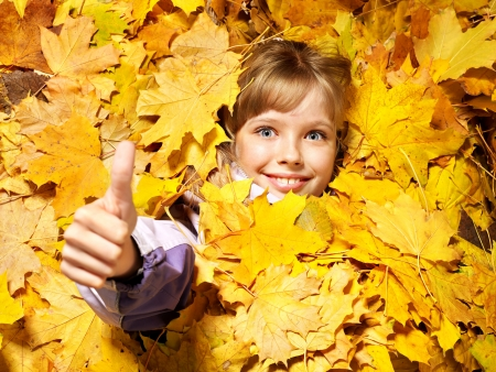 Child in autumn orange leaves. Outdoor. photo