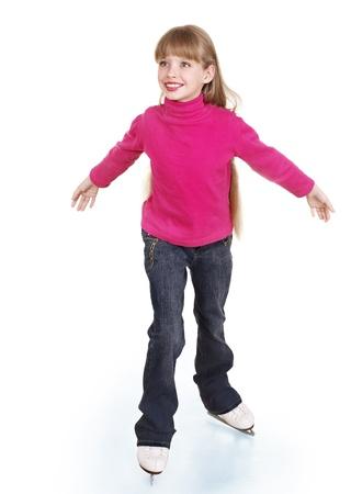 fille pull: Bonne patinage jeunes figure fille. Isol�. Banque d'images