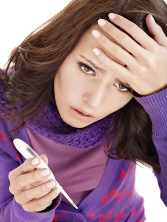 sniffle: Young woman having  flue  taking thermometer. Isolated.