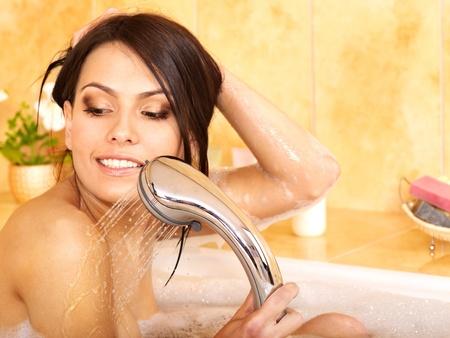 woman bathing: Young woman take bubble  bath.