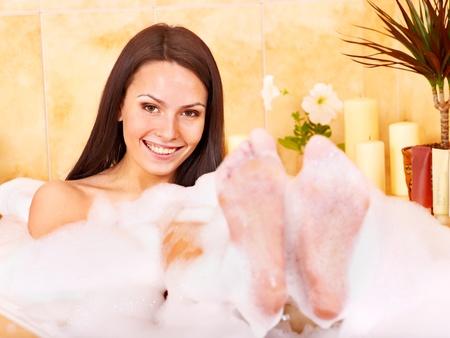 Young woman take bubble  bath. Stock Photo - 10533176