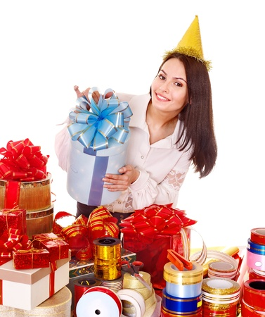 Girl with group of color gift box. Isolated. Stock Photo - 10533124