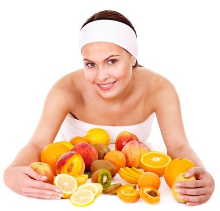 tratamientos corporales: M�scaras faciales naturales de frutas caseras. Aislado. Foto de archivo