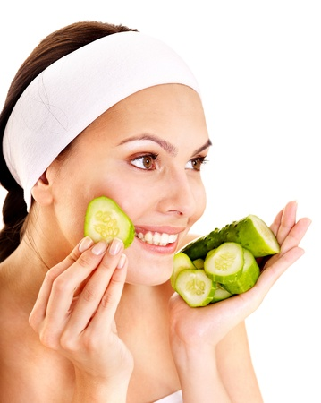 exfoliate: Natural homemade vegetables  facial masks . Isolated. Stock Photo