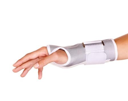 Trauma of wrist in brace. Isolated. Stock Photo - 10532957