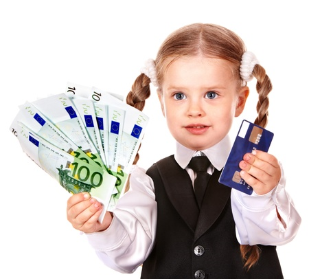 Happy child with money euro and credit card. Isolated. Stock Photo - 10701497