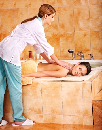 turkish bath: Young woman in hammam or turkish bath. Stock Photo
