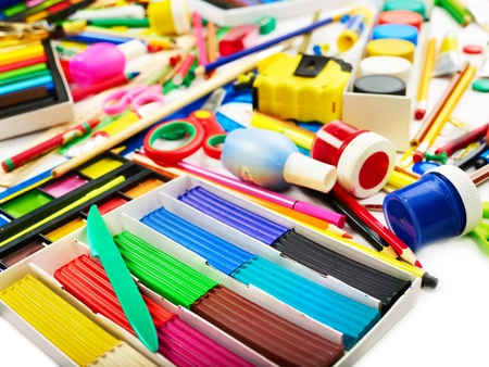 Background of group art school supplies. photo