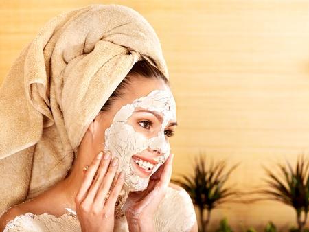 clay: Natural homemade clay  facial masks at home .  Stock Photo