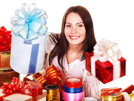 Girl with group of color gift box. Isolated. Stock Photo - 10701747