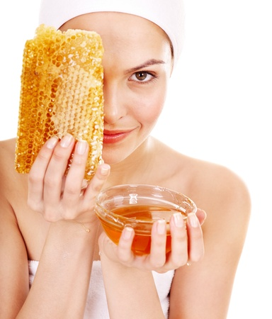 antiaging: Natural homemade organic  facial masks of honey. Isolated.
