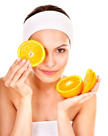 antiaging: Natural homemade fruit  facial masks . Isolated. Stock Photo