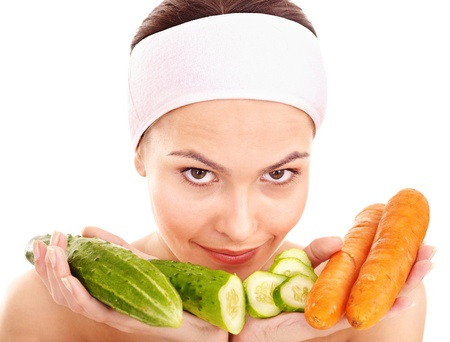 Natural homemade vegetables  facial masks . Healthy eating. photo