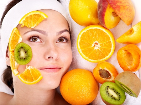 skin care: Natural homemade fruit  facial masks . Isolated. Stock Photo