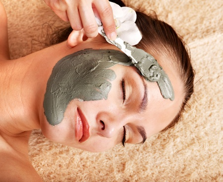 parlour: Beautiful girl having clay body mask apply by beautician.