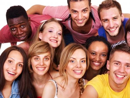 multi ethnic: Group people  Isolated.