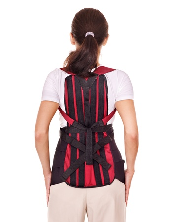 carpol: Trauma of back. Corset for posture. Isolated.