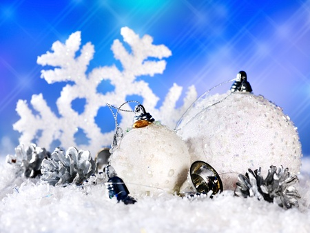 Christmas still life with snowflake and ball. Holiday decoration. Stock Photo - 10702045