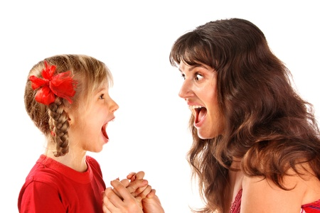 crazy hair: Mother with daughter shouting at each other.