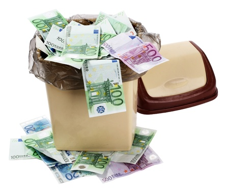 collapse: Money euro in bin. Concept of currency collapse.