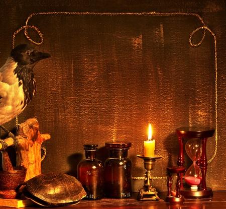 Halloween frontera con cuervo. Vintage. Foto de archivo