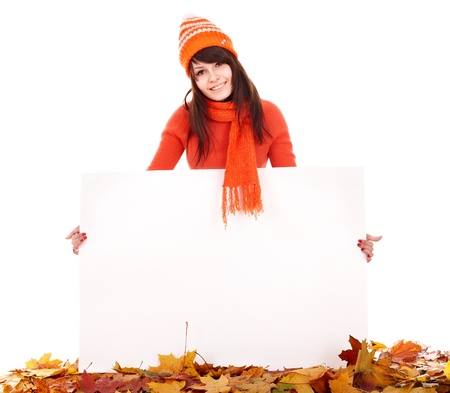 Girl in autumn orange sweater holding banner. Isolated. Stock Photo - 10778607
