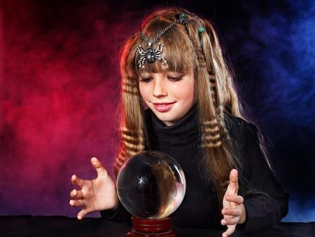 Little girl holding crystal ball.Series. Stock Photo - 10778673