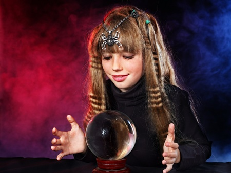 Little girl holding crystal ball.Series. Stock Photo - 10778673