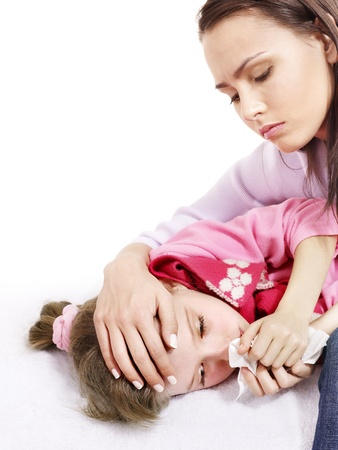 tonsillitis: Sick little girl with mother. Isolated. Stock Photo