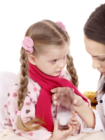 tonsillitis: Sick child take  medicine with doctor. Isolated.