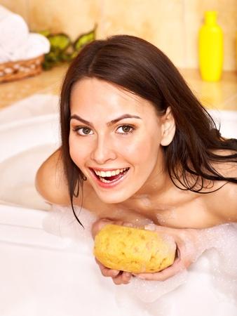 Young woman take bubble  bath. Stock Photo - 10778690