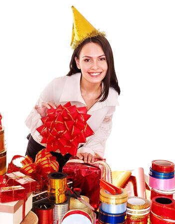 packing supplies: Girl with group of color gift box. Isolated.