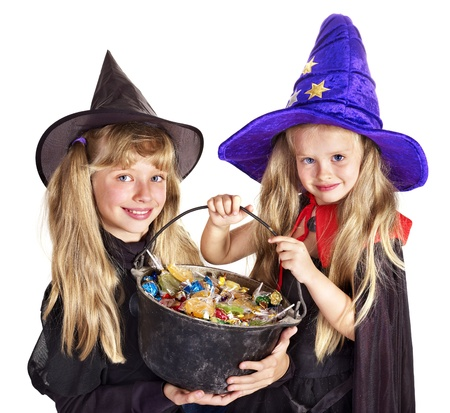 trick or treat: Witch  children with trick or treat. Halloween. Stock Photo