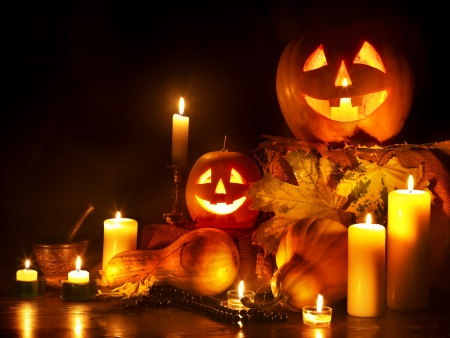 carving: Halloween pumpkin lantern. Decoration. Stock Photo