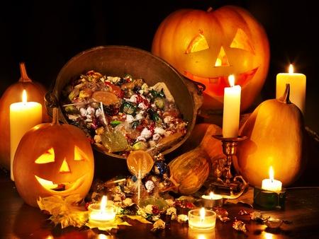 caldron: Halloween pumpkin lantern. Trick  or treat.