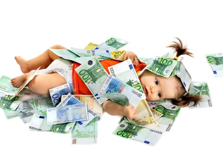 money euro: Child with euro money. Business concept.How much it costs to have a baby? Stock Photo